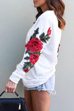 One Shoulder Floral Embroidery Casual T-shirts
