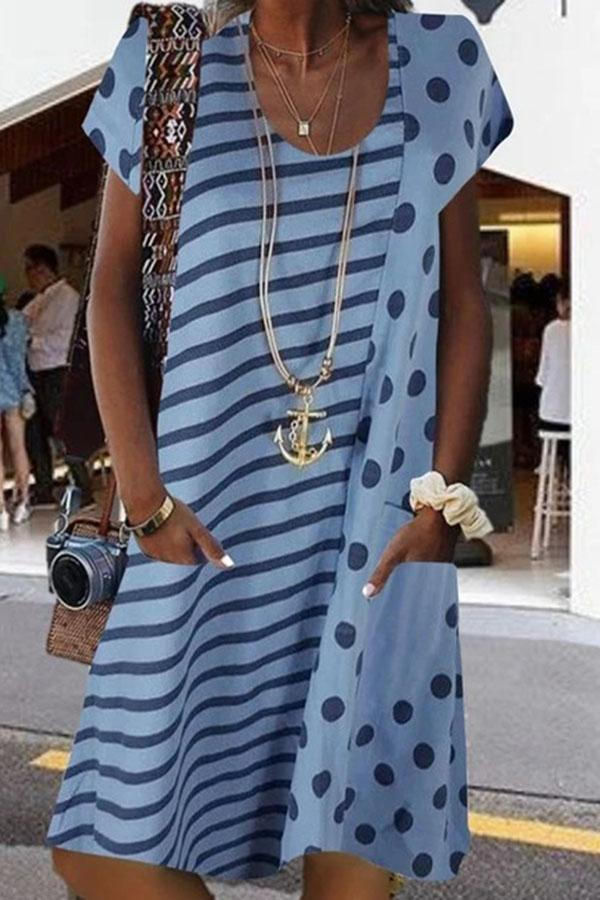 Casual Stripe Dot  Round Neck Short Sleeves Midi Dress
