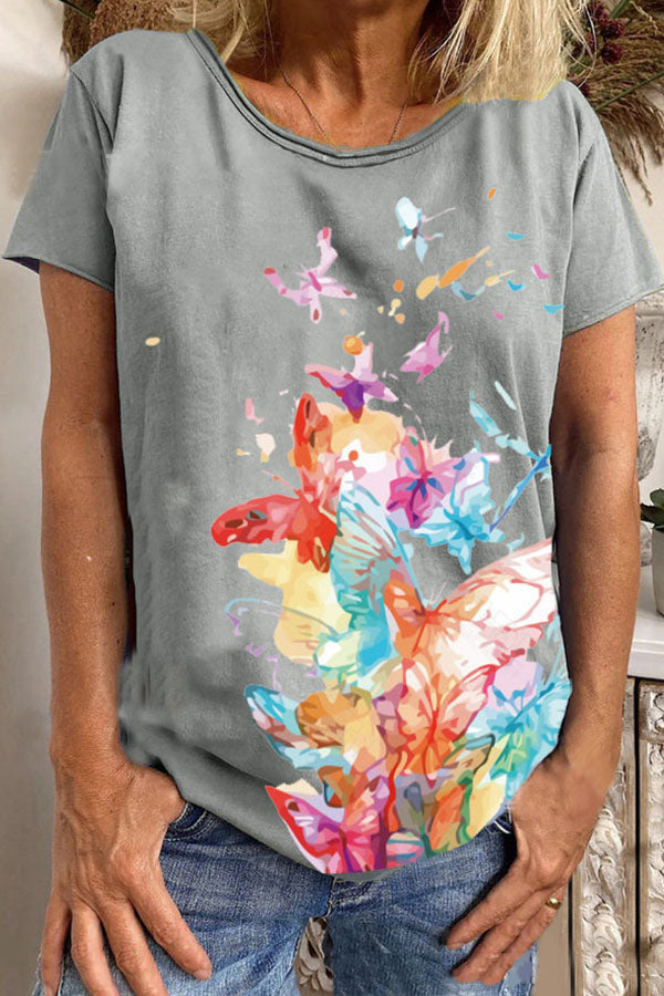 Literary Colorful Butterfly Print Shift Short Sleeves T-shirt