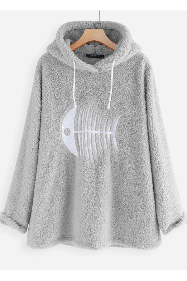 Cartoon Fish Bone Stitching Faux Fur Warm Hoodie