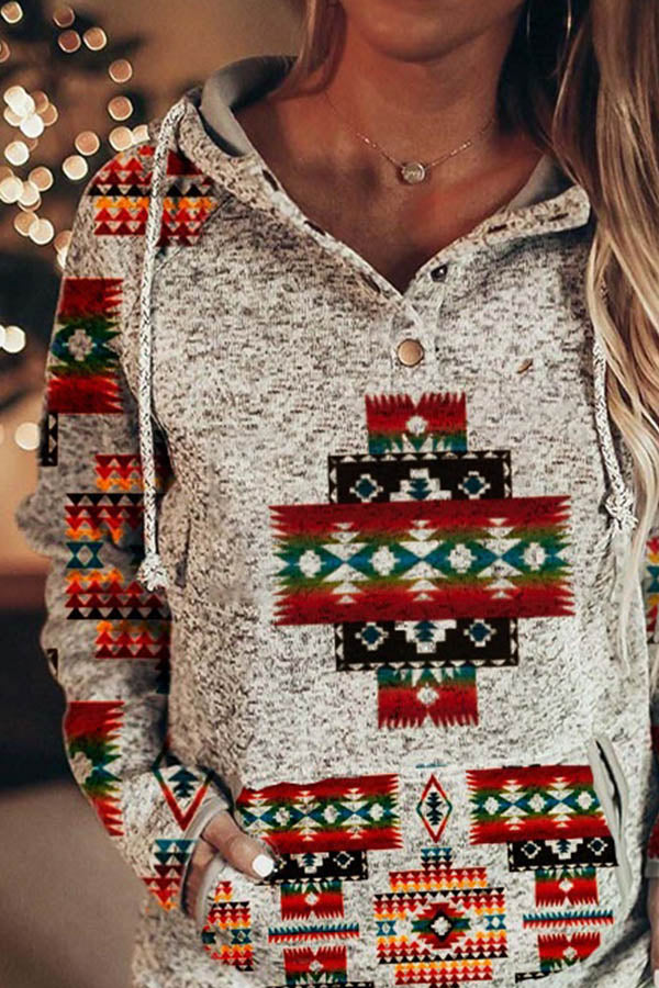 Ethnic Geometric Gradient Print Drawstring Pocket Front Raglan Sleeves Buttoned Hoodie