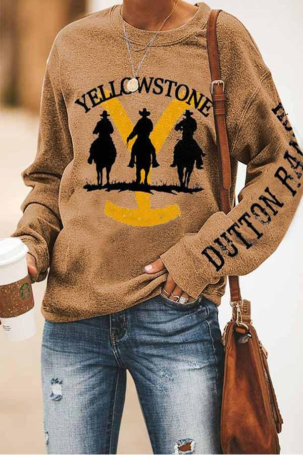 Yellowstone Letter Print Cowboy Casual T-shirt