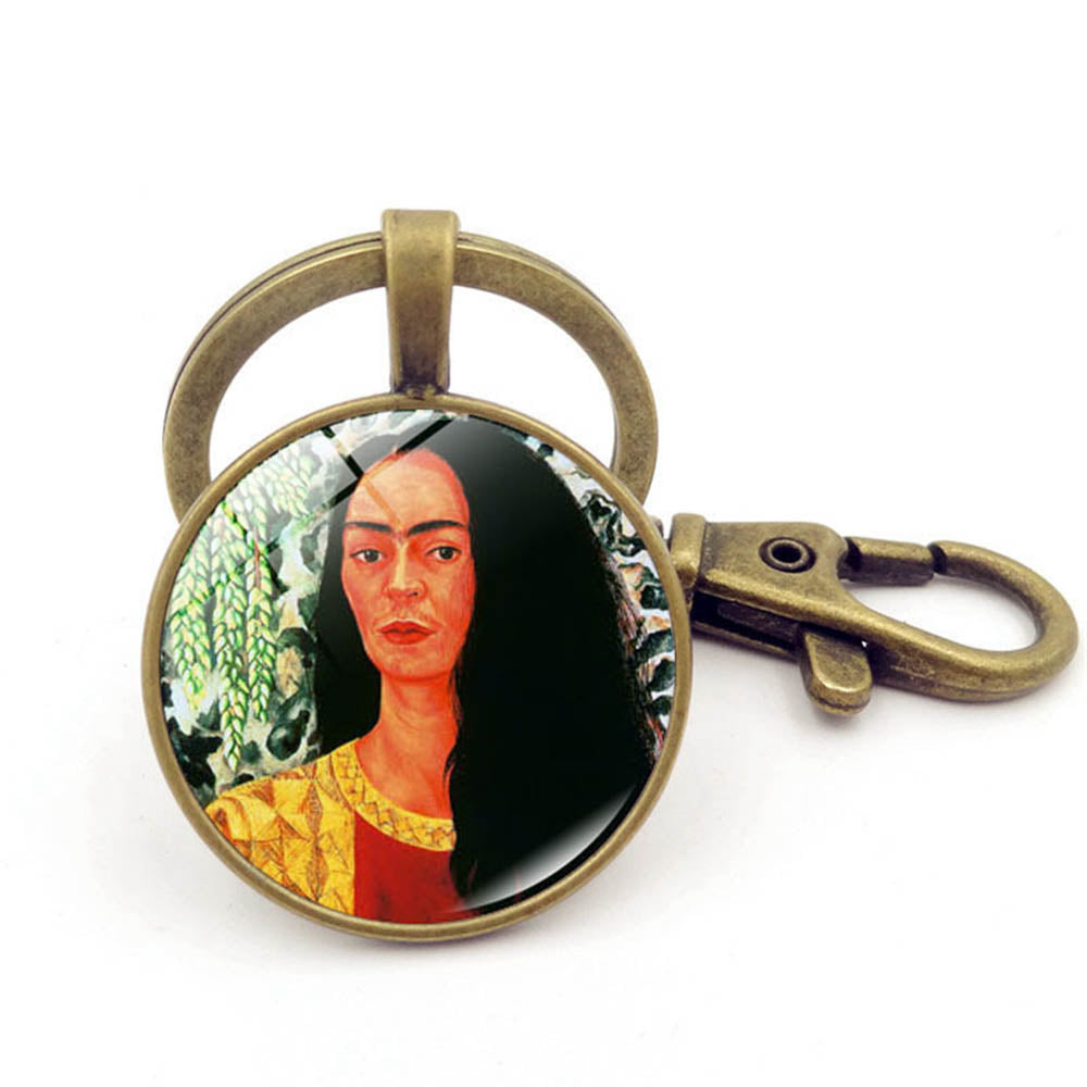 Frida Kahlo Oil Painting Vintage Artistic Glass Gem Keychain