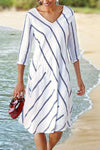 Striped Print Paneled V-neck 3/4 Sleeves Casual Midi Dress