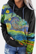Oil Painting Swirl Gradient Sky Abstract Nature Landscape Color-block Artistic Hoodie