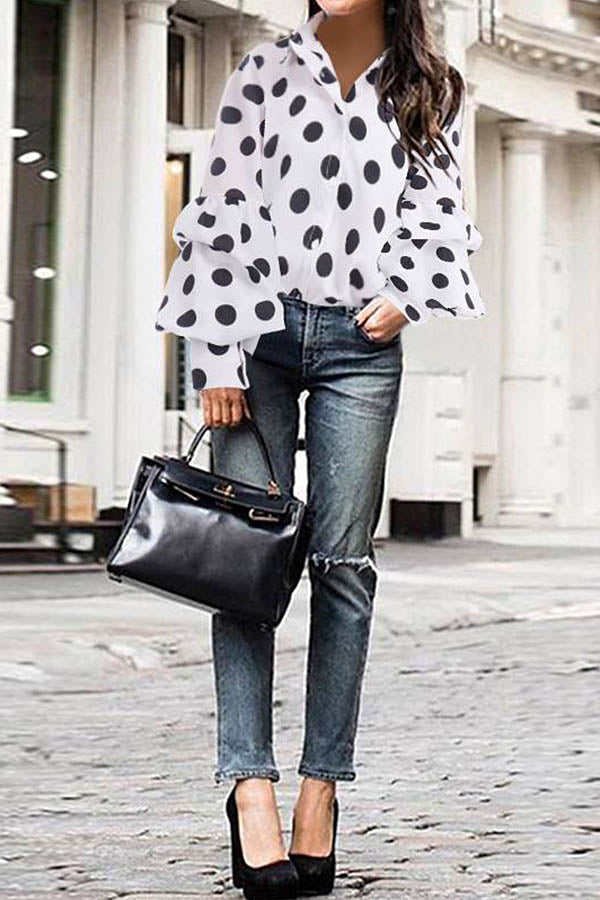 Elegant Polka Dots Print Buttons Down Balloon Sleeves Blouse