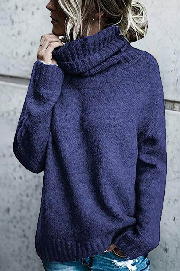 Classic Solid Turtleneck Knitted Ribbed Paneled Sweater