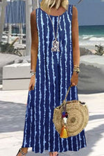 Striped Print Sleeveless Paneled Lace Holiday Maxi Dress