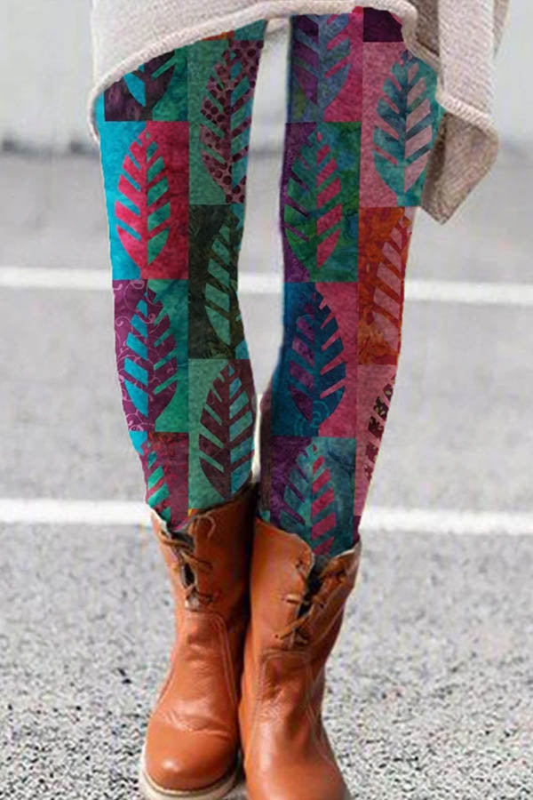 Bohemian Gold Leaf Gradient Print Women Long Pants