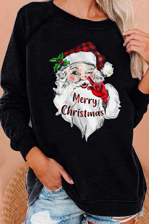 Winking Santa Claus Print Merry Christmas Party T-shirt