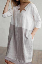 Color-block Linen Solid Midi Dress