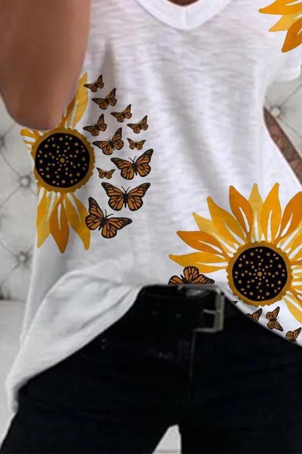 Paneled V-neck Sunflower Butterfly Casual T-shirt