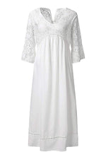 Casual Solid Lace Ruffle Sleeve Maxi Dress