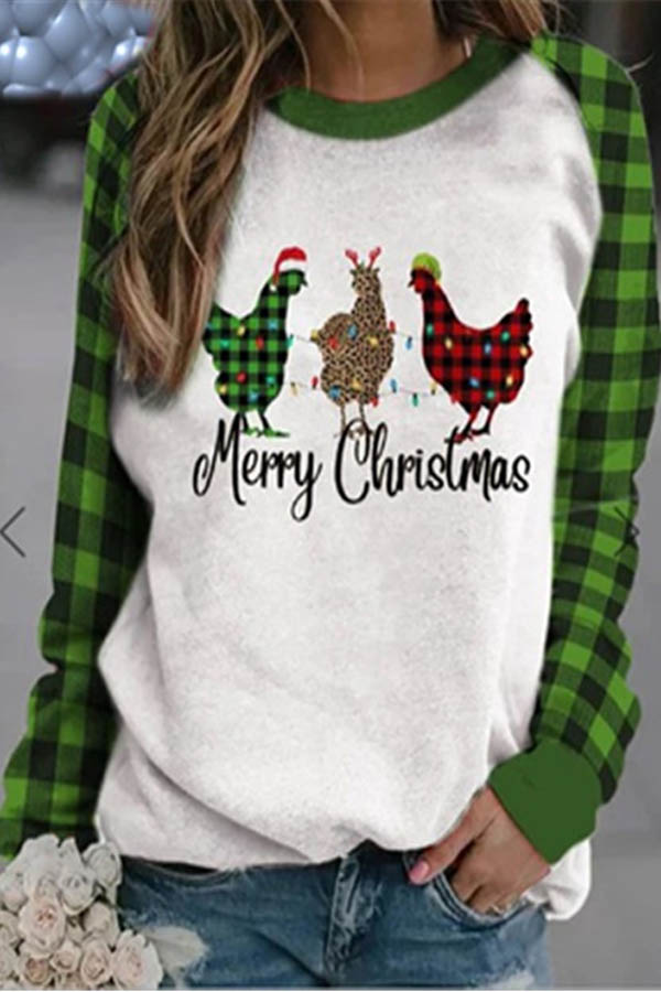 Merry Christmas Letter And Three Chicken With Plaid Leopard Pattern Print Color-block Sweatshirt