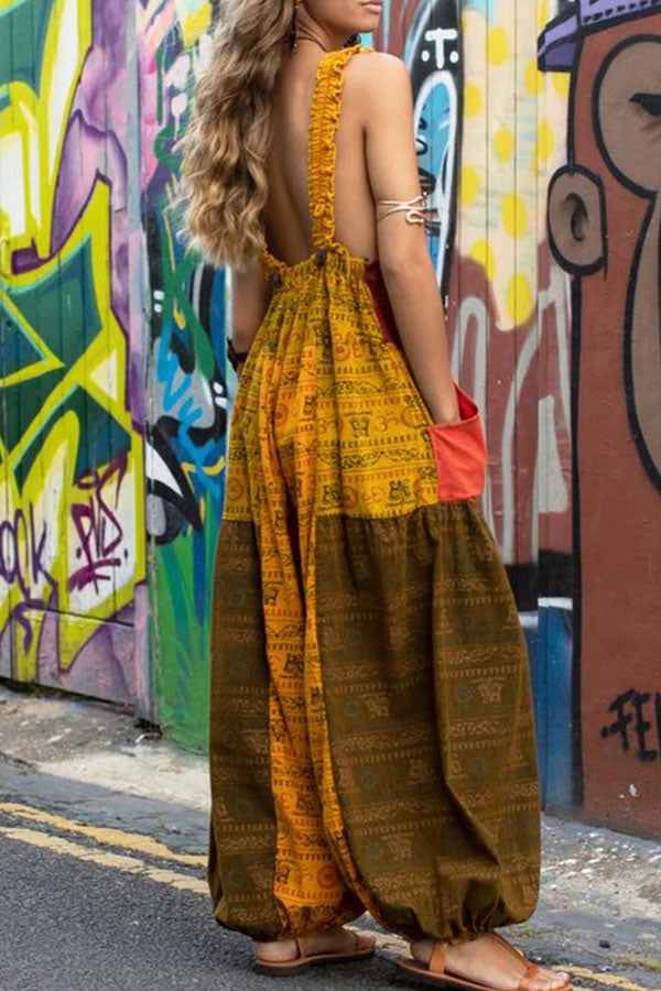 Bohemian Geometric Print Pockets Pleated Sleeveless Square Neck Loose Color Block Long Jumpsuits