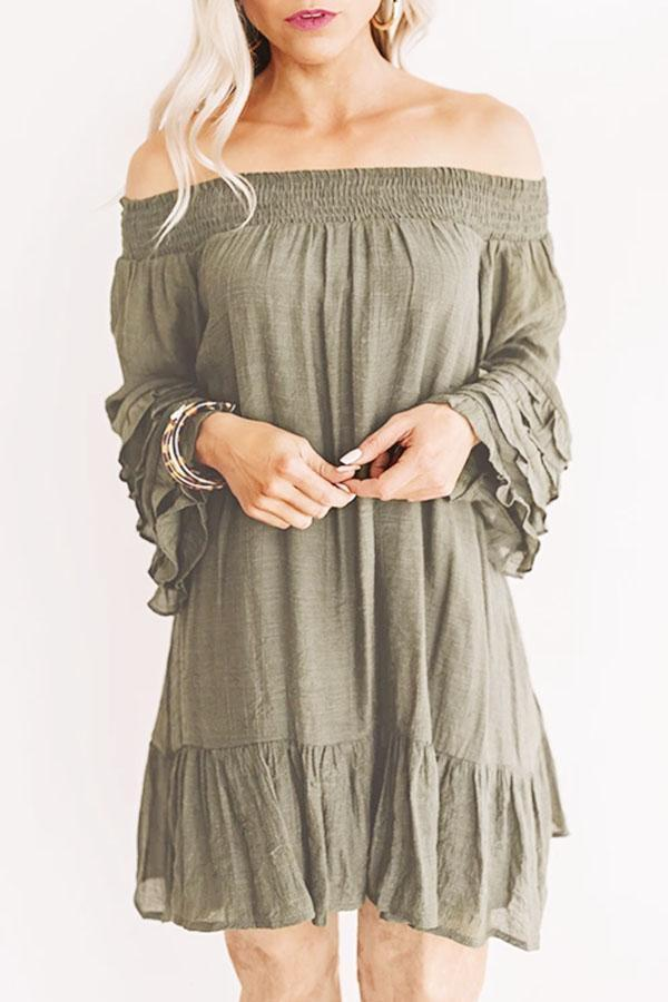 Solid Off Shoulder Ruffled Flare Sleeve Mini Dress