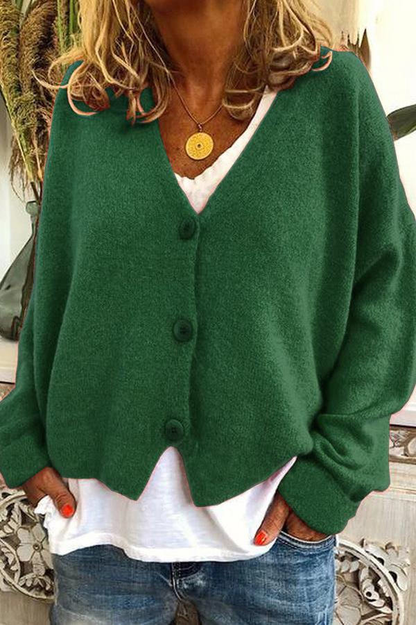 Casual Solid Long Sleeves Buttons Sweater