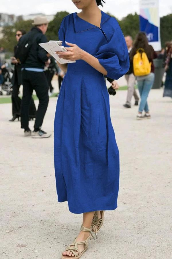 Zip Neck Half Sleeves Midi Dress