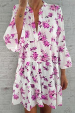Casual Floral Print  Ruffled Bohemian Mini Dress