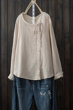 Linen Solid Button Down Crew Neck Blouses