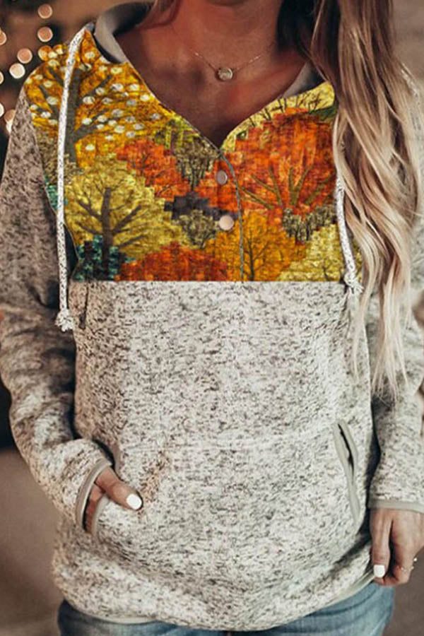 Literary Autumn Scenery Nature Landscape Treetop Forest Print Buttoned Hoodie