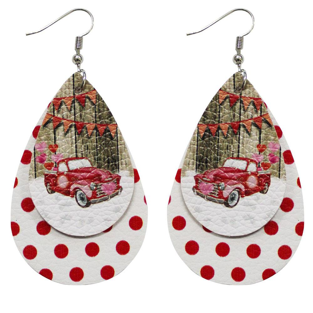Christmas Party Car With Love Balloon Plaid Polka Dots Double Layers Drop-shaped Earrings