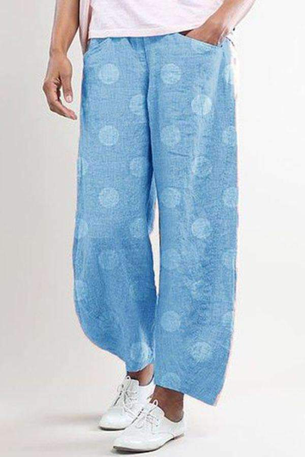 Polka Dots Pockets Casual Long Pants