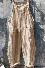 Paneled Striped Pockets Casual Wide Leg Jumpsuit
