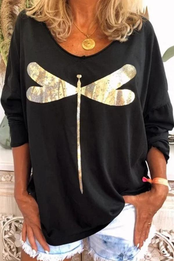 Casual Print Crew Neck Long Sleeve Tee