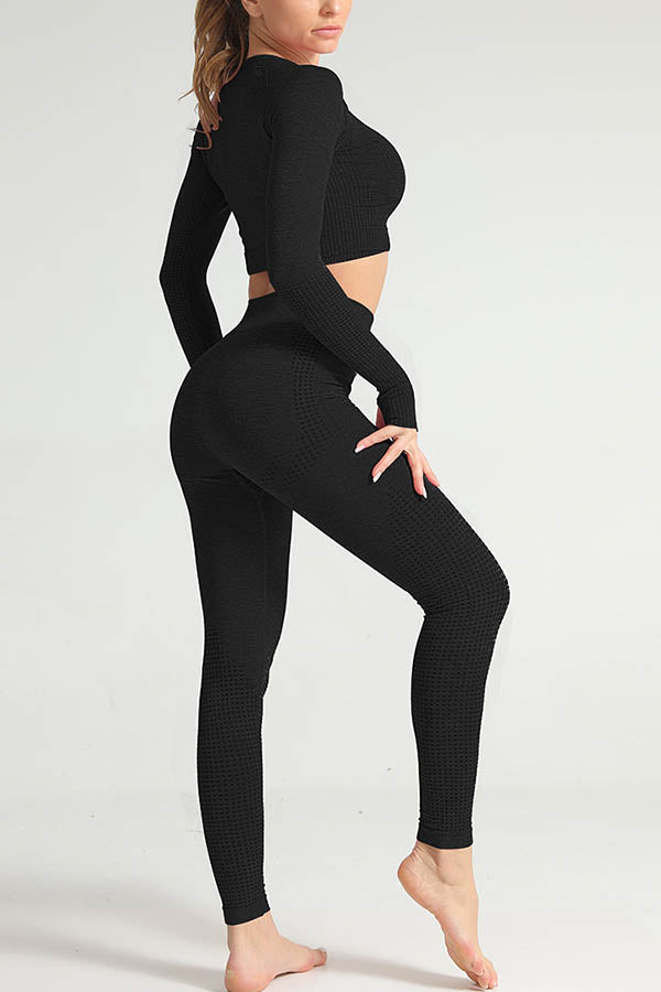 Dots Jacquaed Sports Fitness Cropped Top With Leggings Yoga Two-pieces Set