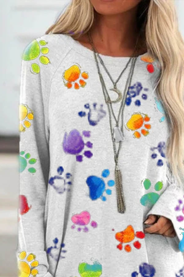 Gradient Colorful Footprint Print Paneled Lively Raglan Sleeves T-shirt