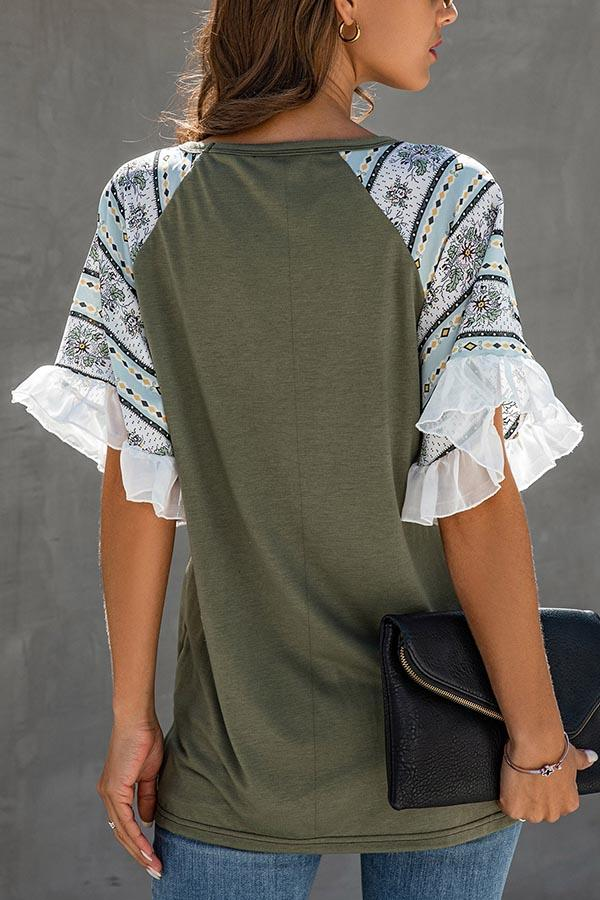 Striped Floral Print V-neck Frill Sleeves Casual Blouse