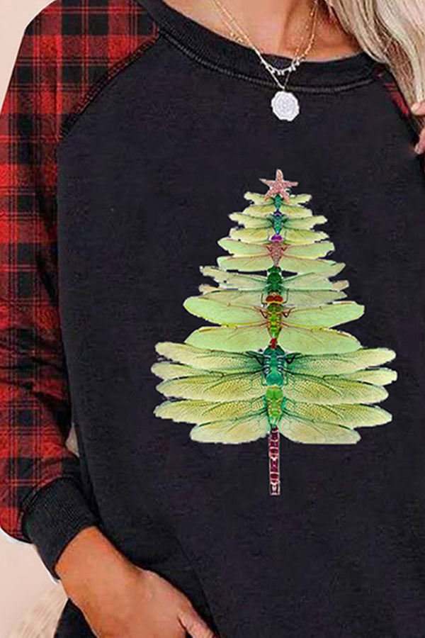 Color-block Plaid Dragonfly Christmas Tree Gradient Print Casual Raglan Sleeves T-shirt