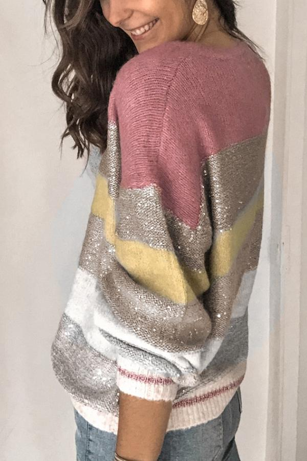 Crew Neck Knitted Stripe Print Sweater