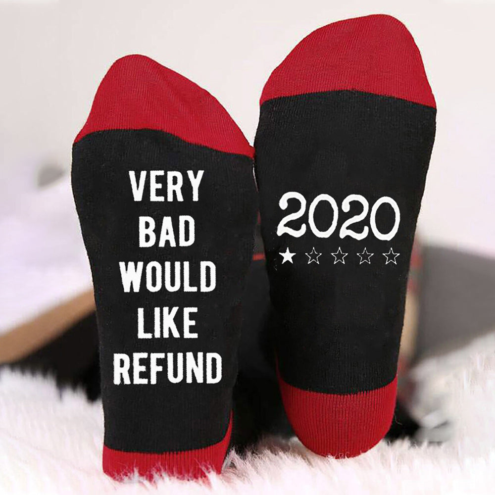 2020 Very Bad Would Like Refund Letter Jacquard Color-block Casual Socks