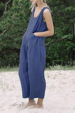 Linen Side Pockets Casual Wide Leg Jumpsuit