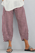 Plaid Print Paneled Cross Front Hem Vintage Pants