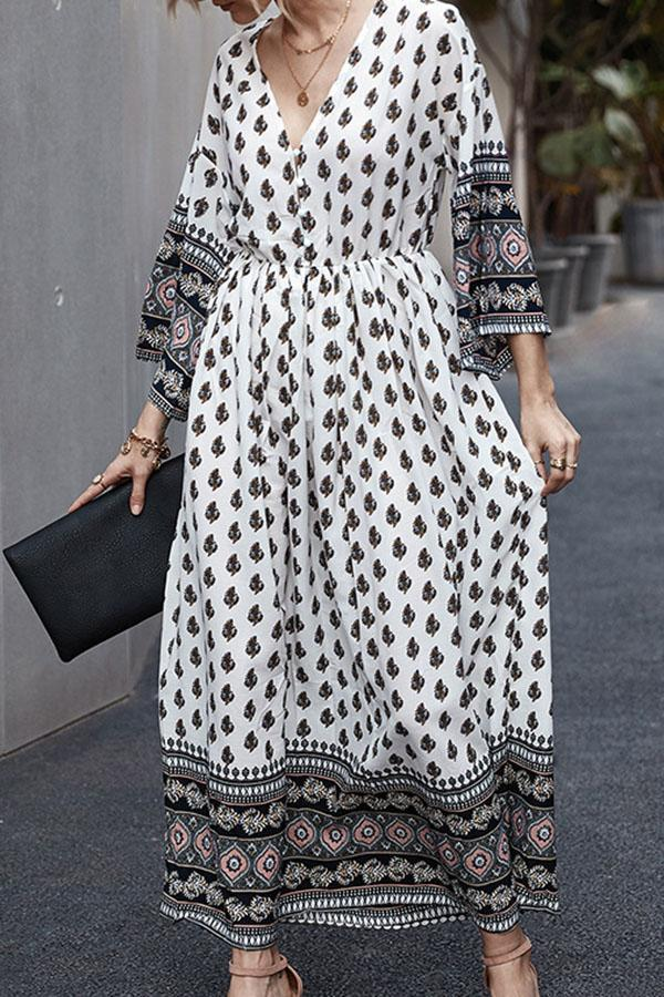 Bohemian Print Paneled A-line Holiday Maxi Dress