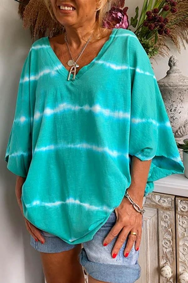 Striped Print Paneled V-neck 3/4 Sleeves Batwing T-shirt