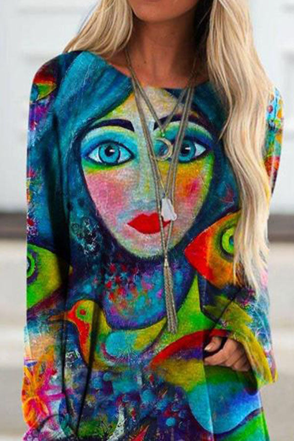 Artistic Abstract Character Women Face With Bird Floral Painting Print Raglan Sleeves T-shirt