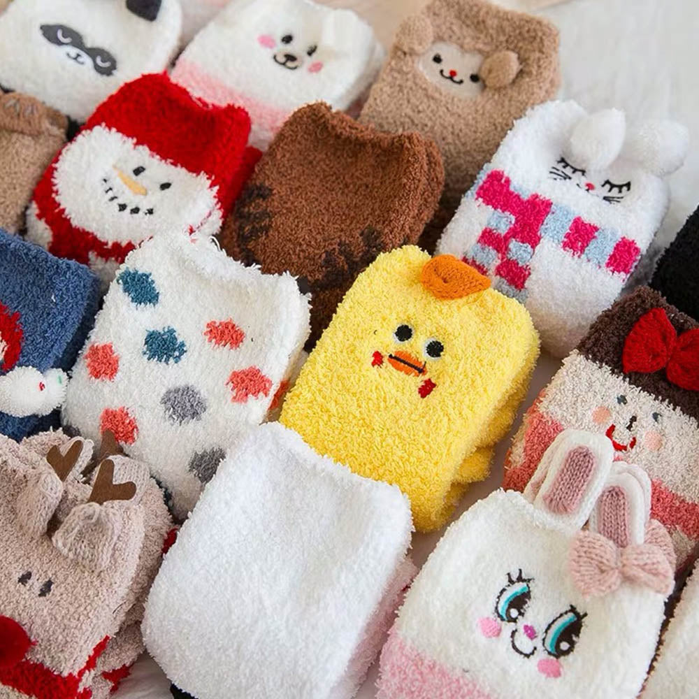 Three-dimensional Cartoon Character Embroidery Fuzzy Lovely Socks