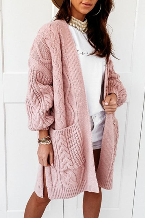 Holiday Sweety Solid Knitted Ribbed Tweed Open Front Slit Hem Pockets Cardigan
