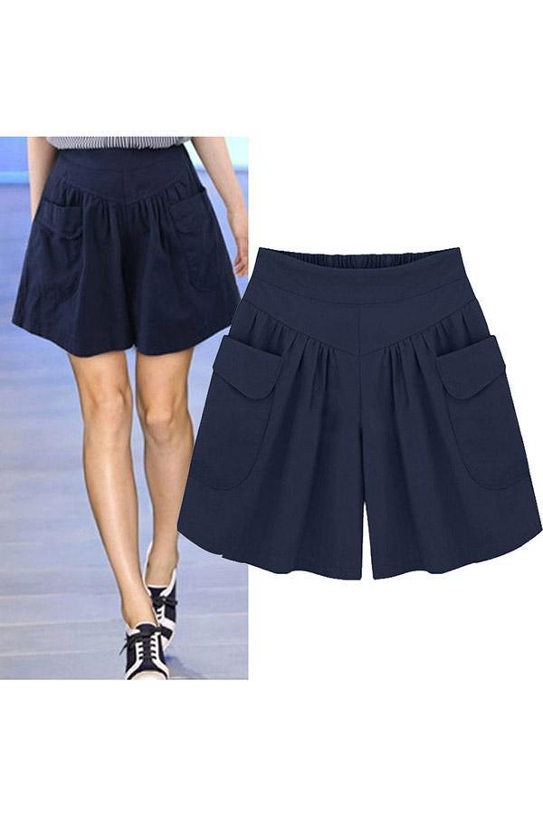 Casual Cotton Pockets High Waist Solid Pants