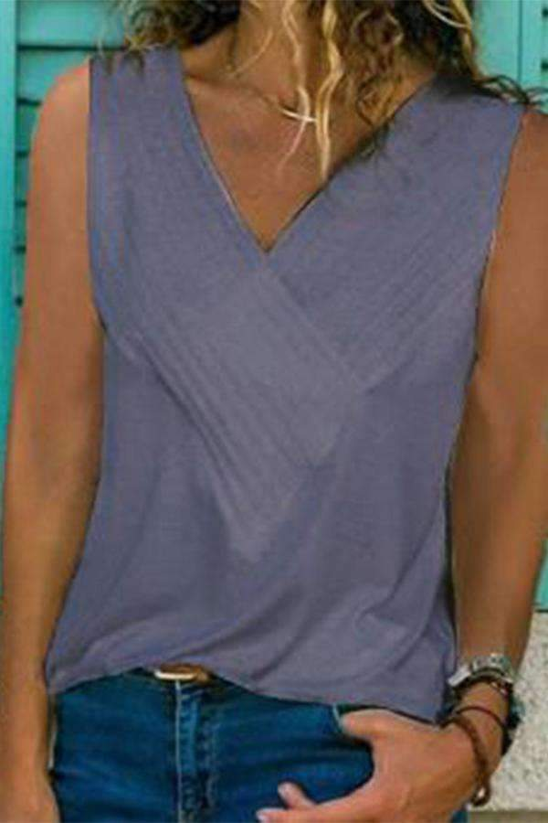 Plain V-neck Casual Tank Top