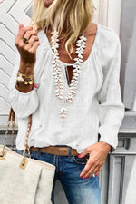 Casual V-neck Tie-up Blouse