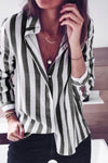 Women Lapel Collar Stripe Blouses