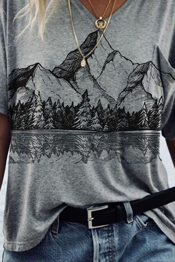 Literary Nature Landscape Mountain Forest With Reflection Landscape Print Pocket T-shirt
