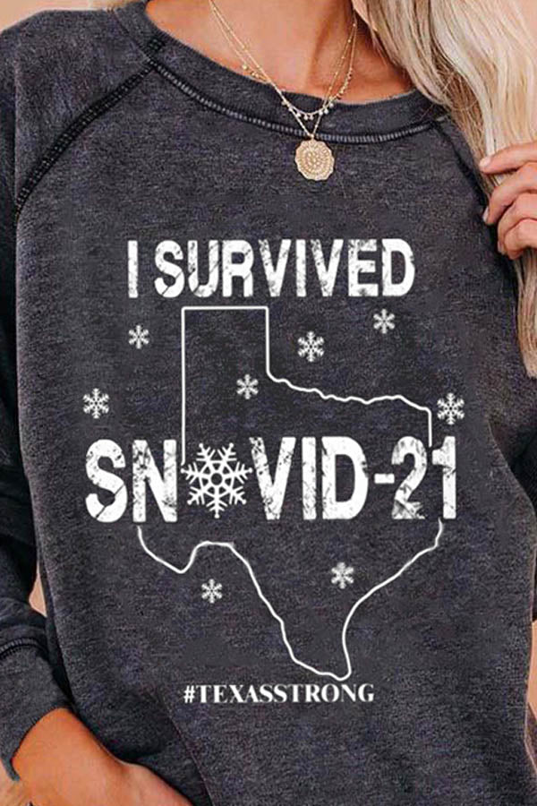 I Survived Snovid 21 Letter Print O-Neck Long Sleeve T-Shirt