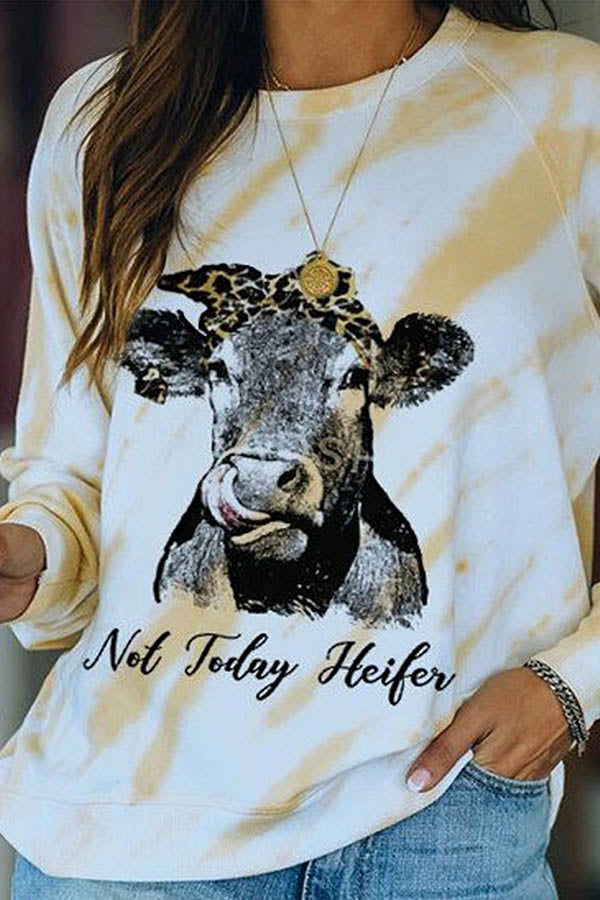 Not Today Heifer Letter Lifelike Cow Print Gradient Casual T-shirt