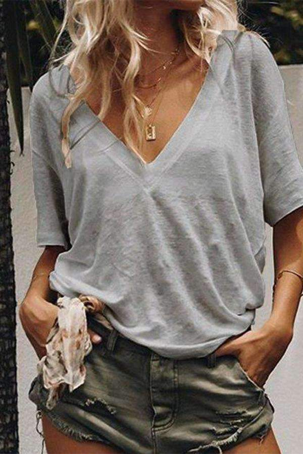 Plain Cotton-Blend Short Sleeve Casual Loose Tees